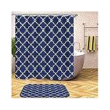 Knbob Gardinen Duschvorhang Blumenmuster Blau Shower Curtain 180X180CM mit Vorhanghaken Badezimmer Vorhänge