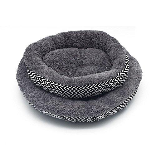 GOOTRADES Cama de perro redondo y suave gato rayado para mascotas Suave y acogedor para mascotas pequeñas Tamaño gris S diameter: 34cm, hight:10cm