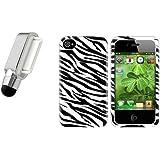 Silber Mini Stift+Schwarz & Weiß ZEBRA Gel Hard Case Tasche Für IPHONE 4 4S