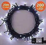 Fata luci di Natale 200 LED luminosi bianco albero luci interne ed esterne uso, funzione di memoria, alimentazione luci fata 19.9m illuminato lunghezza con 3m cavo filo verde