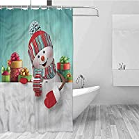 SuyuttiER Household Shower Curtain Christmas Snowman And Boxes Single Stall Shower Curtain W94 XL72,Shower Curtain For Bathroom 60X72 Inch