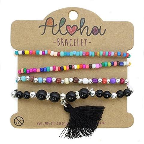 Four Pack Micro Multicoloured Pebble Chrome and Black Tassle Quad Ladies Bracelet Perfect for Beach Summer Festival Season