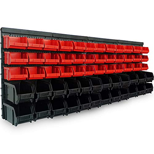 Deuba Wandregal mit Stapelboxen | 64 tlg Box | Starke Wandplatten | Erweiterbar | Werkstattregal Lagerregal Steckregal