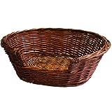 JVL Full Buff Wicker Small Pet Bed Basket, 58 x 49 x 20 cm
