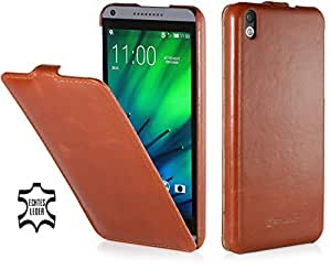 StilGut UltraSlim Case, Tasche aus Leder für HTC Desire 816, cognac