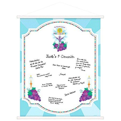 Amscan Mi Primera Comunión First Communion Partyschild in Schriftrolle 1 Piece mehrfarbig (Favors Party Communion First)
