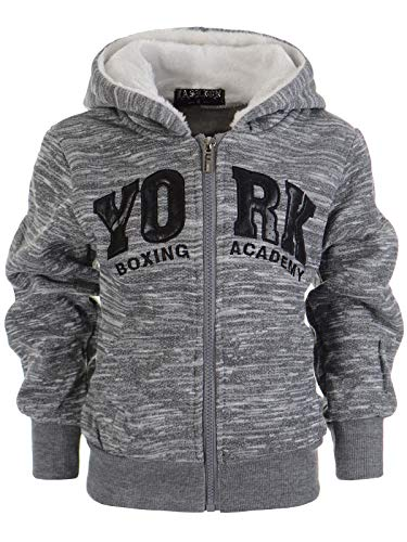 Jungen Kinder Hoodie Pullover Kapuzenpullover Sweatshirt Shirt Sweatjacke 22867, Farbe:Grau, Größe:122