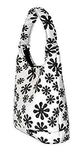NOVELY TN-47 Shopper XXL sac femme fleurs noir blanc