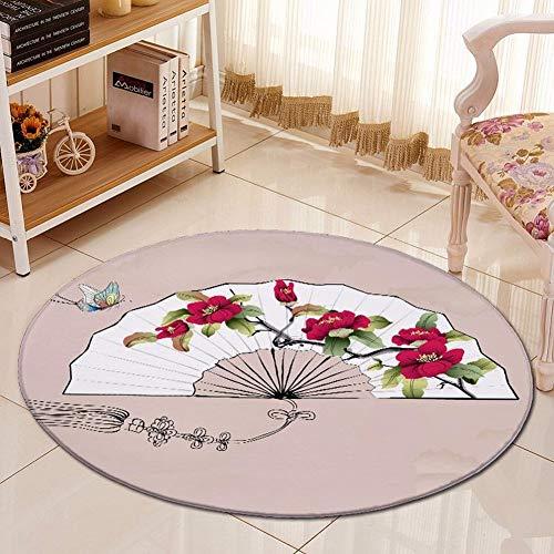 S&RL Chinesische Stil Serie Flanell Hause Rutschfeste Saugfähige Bodenmatte, Ventilator, 60cm im Durchmesser (23.6inch)