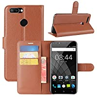 Oukitel U22 Case, HualuBro [All Around Protection] Premium PU Leather Wallet Flip Phone Protective Case Cover with Card Slots for Oukitel U22 Smartphone (Brown)