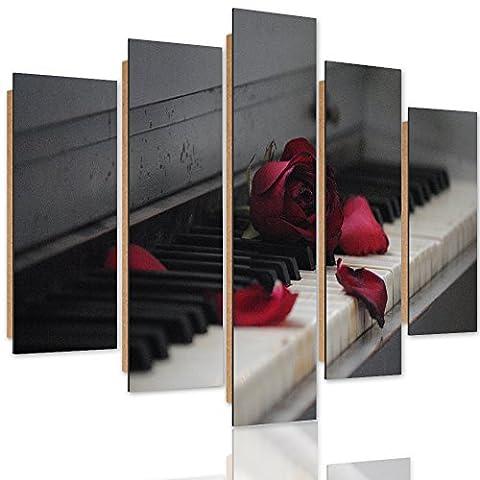 Feeby. Wandbild - 5 Teile - Deko Bilder, gedrucktes Bild, Deco Panel, Foto, Kunstdrucke, 5-Teilig, Typ A, 100x70 cm, ROSE, ORGEL, MUSIK, ROT, GRAU