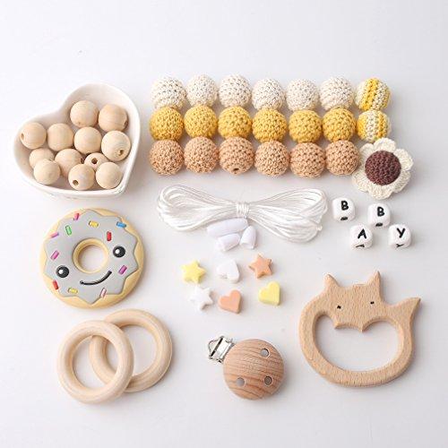 Mamimami Home DIY Baby Zahnen Spielzeug Silikon Krankenpflege Halskette Häkelnde Perlen Armband Hölzernes Tier Schnuller Clips Kautabletten