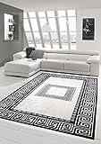Tapis d'impression Tapis Design Lavable Tapis Contemporain Tapis Salon avec Bordure en Noir et crème Größe 160x230 cm
