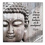 Cadre Bouddha Bois avec Citation - On ne Diminue pas le Bonheur en le Partageant.