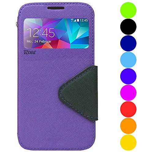 Roar Galaxy S6 Edge Plus Handyhülle, Handy Tasche, Flip Case Schutzhülle, Bookcase Handytasche, Premium Etui mit Fenster, Kompatibel mit Samsung Galaxy S6 Edge Plus, Violett Lila