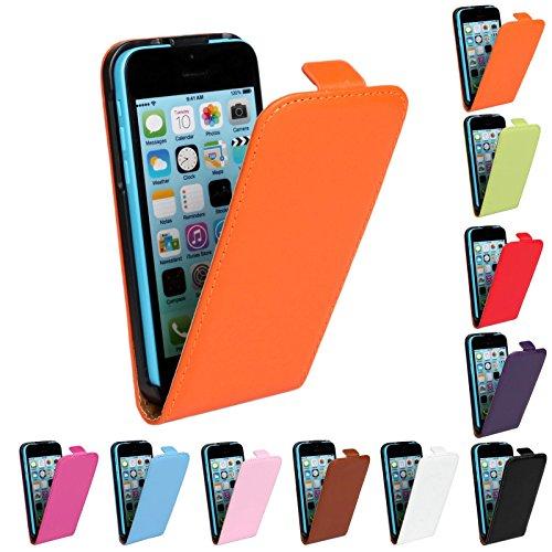 Meimeiwu Genuine Leather Wallet Cover Hülle Schutzhülle Etui Tasche Up-Down Flip Open Case für iPhone 5C - Orange Pink