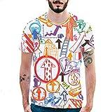 Buntes T-Shirt Mens Pfeil Druck Bluse Lässig dünnes Hemd Kurzarm Top GreatestPAK,Orange,L