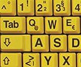 Deutsch Große Beschriftung (Großbuchstaben) Gelb Tastaturaufkleber mit Schwarzen Buchstaben - passend für jede Tastatur