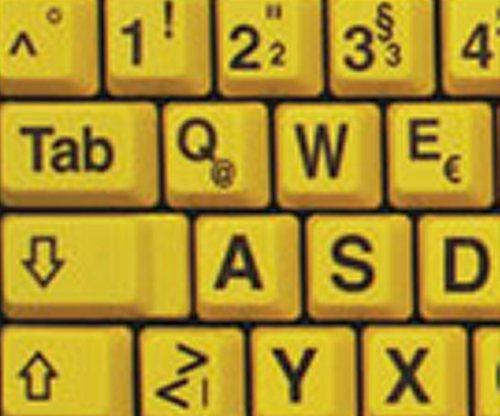Qwerty Keys Deutsch Große Beschriftung (Großbuchstaben) Gelb Tastaturaufkleber mit Schwarzen Buchstaben - passend für Jede Tastatur -