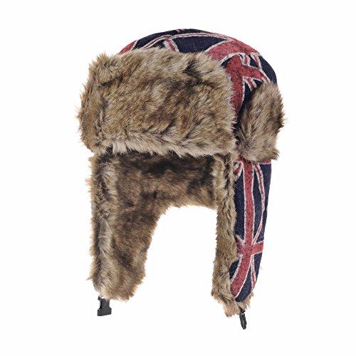 WITHMOONS Fliegermütze Ear Flap Cap Bomber Hat Union Jack Beanie Trapper Faux Fur AC7140 (Blue) (Bomber Hats Trapper)