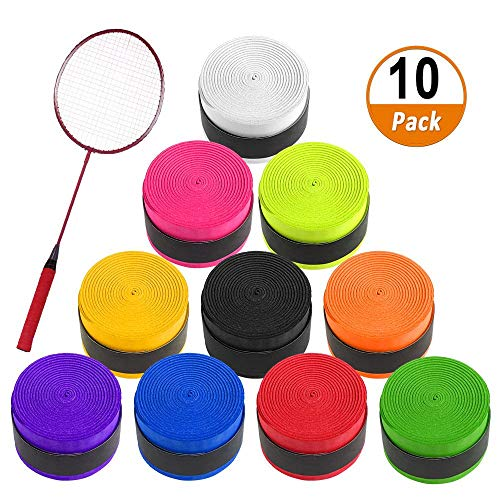 Aipaide Griffband 10 Stück Anti Rutsch Overgrip Griffbänder für Tennis Badminton Baseball Squash Schläger und Angelrute Bunt Farben