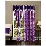 Exporthub Purple Eyelet Door Curtains Se...
