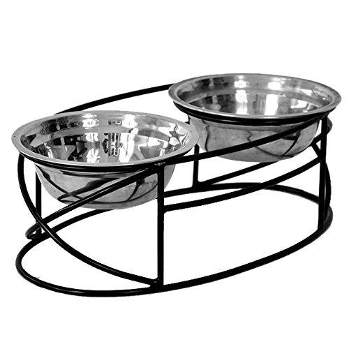 Pet Feeder Schmiedeeisen stehen, mit Doppel Edelstahl Schalen Doppel Diner Futterstation mit Cat/Dog Schalen (Dog Feeder-schalen)