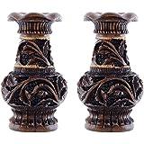 Craft Trade Wooden Handmade Flower Liquor Vase/Pot Set Of 2 For Home Decoration