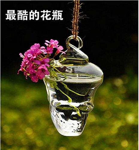 Fenteer Glas hängende Vase Blumen Pflanzer Behälter Topf Hochzeits - Schädel 12cm
