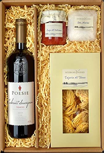 Italienischer Präsent Geschenk-Korb / Gourmet Spezialitäten Delikatessen Set mit Rotwein Poesie Cabernet Sauvignon Veneto, Sugo all´Italiana, Tajarin all´Uovo und grobes Meersalz