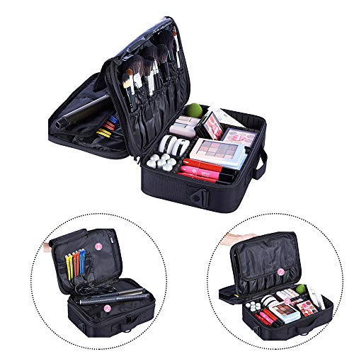 CHUCKSSS 3-Lagen-Wasserdichte Make-up-Tasche Reise-Kosmetikkoffer-Bürstenhalter mit verstellbarem Teiler,Mit