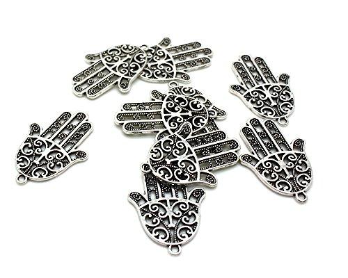 Beads Unlimited-35 x 24 mm in metallo, pendente a forma di mano, confezione da 10, colore: argento antico
