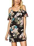 YOINS Damen Sommerkleider Minikleid Blumenmuster Ärmellos Schulterfrei Kleid Strandkleid Partykleid Schwarz XS/EU32-34