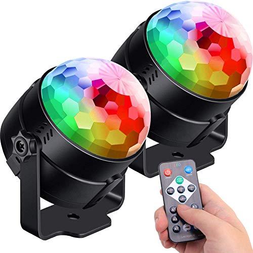 FITNATE 2 STK. USB LED Musikgesteuert Discokugel Discolicht Partylicht mit Fernbedienung zur 7 Farbe RGB DJ Disco Lichteffekte für Weihnachten, Kinderzimmer, Partei, Kinder Geburtstag Karaoke