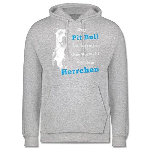 Shirtracer Hunde - Der Pit Bull ist harmlos Aber Vorsicht vor dem Herrchen - M - Grau meliert - JH001 - Herren Hoodie