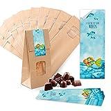 25 kleine braune Papier-Tüten MIT FENSTER und Pergamin-Einlage 10,5 x 6,5 x 29 cm + 25 blau türkise Regenbogen-Fisch SCHÖN DASS DU DA BIST Aufkleber 5 x 15 cm Verpackung give-away