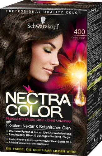 Nectra Color Permanente Pflege-Farbe, 400 Dunkelbraun, 3er Pack (3 x 143 ml)