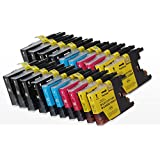 20 XL compatible Ink cartridges to Brother LC1280 8 black + 4 cyan + 4 magenta + 4 yellow for Brother MFC-J5910DW MFC-J6510DW MFC-J6710DW MFC-J6910DW