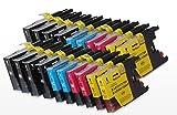 20 XL Tintenpatronen, kompatibel mit Brother LC1280, 8 x Schwarz + 4 x Cyan + 4 x Magenta + 4 x Gelb für Brother MFC-J5910DW, MFC-J6510DW, MFC-J6710DW, MFC-J6910DW