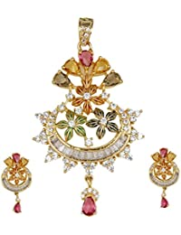 The Plum Fashion Gold Alloy Pendant Set For Women (Pf049)
