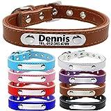 TagME Personalisierte Hundehalsbänder aus Leder/Weich Gepolstertes Hundehalsband/Löschen Sie Name, Telefonnummer und Mikrochipnummer/Passend für kleine Hunde/Braun