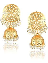 Meenaz Traditional Pearl Jewellery Gold Chandbali Jhumki Party Wear Stylish Jhumka Earrings For Women Girls Jewellery...