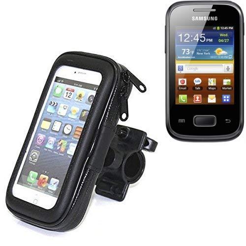 K-S-Trade Fahrrad Halterung für Samsung Galaxy Pocket Handyhalterung Halter Lenkstange Fahrradhalterung Motorrad Bike Mount Wasserabweisend regensicher schwarz (1x)