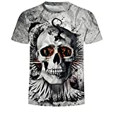 Wehor 3D T-Shirt Casual Top Print Graphic Shirt Casual Basic O-Neck Set-in Neck Pistole S-XXL Horror-Schädel L