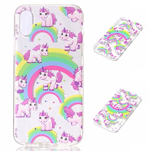Linvei iPhone X Coque,iPhone 10 Coque ,Ultra Mince TPU Silicone Design Antichoc et Anti-Scratch Housse pour iPhone X /iPhone 10 2017 - Chat drôle Lovely Rainbow Horse