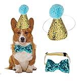 HEEPDD 2 Unids Sombrero de Cumpleaños, Perro Mascota Perro Gorro de Cumpleaños Sombreros Reutilizables Bowknot Fiesta Traje Perro Cachorro Regalo de cumpleaños (Blue)