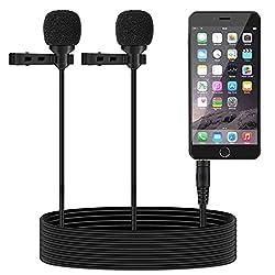 TONOR Dual-Kapsel Aufnahme Lavalier Lapel Clip-on Mini Mikrofon Omnidirektional Kondensator-Mikrofon für iPhone und Android Smartphone