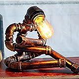 Schreibtischlampe, Jahrgang industrielles Wasserrohr Tischleuchte Einhebelmischer Doppelwandfluter Metall Rustikal Retro antike Leselampe (Color : A)