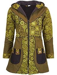 36f40366cfd3 Kunst und Magie Damenmantel mit Kapuze Blumenmuster- Jacke Baumwolle