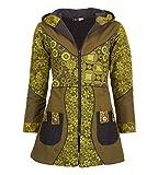 Kunst und Magie Damenmantel mit Kapuze Blumenmuster Jacke Baumwolle, Größe Damen:42, Farbe:Army Green